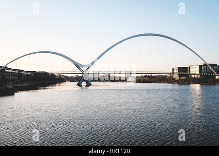 The Infinity Bridge in Stockton-on-Tees, England - Stock Photo