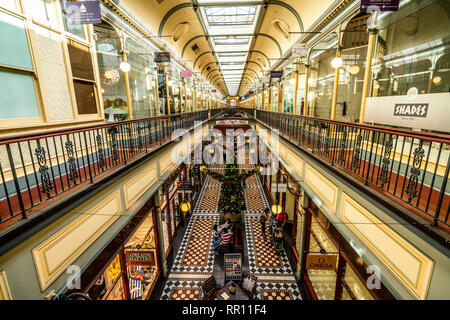 30th December 2018, Adelaide South Australia : Interior view of Adelaide arcade an heritage shopping arcade in the centre of Adelaide SA Australia - Stock Photo
