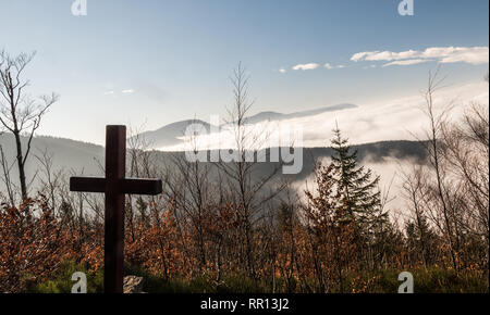 autumn Moravskoslezske Beskydy mountains scenery from hiking trail bellow Lysa hora hill in Moravskoslezske Beskydy mountains in Czech republic with c - Stock Photo
