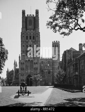 Cannon in front of the West Tower Ely Cathedral Cambridgeshire - Stock Photo