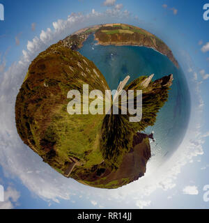 A 360 panoramic image of Salcombe Estuary from Bolt Head in Salcombe, Devon. - Stock Photo
