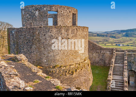 Round Tower, Dinefwr Castle, Llandeilo, Carmarthenshire, Wales, UK - Stock Photo