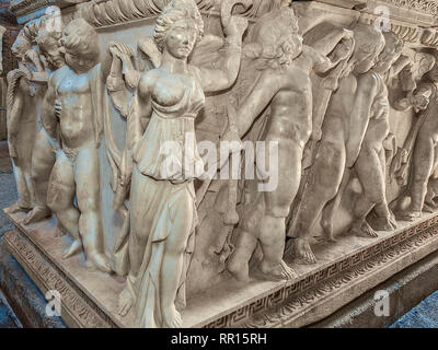 Sarcophagus, Side Museum, Side, Turkey - Stock Photo