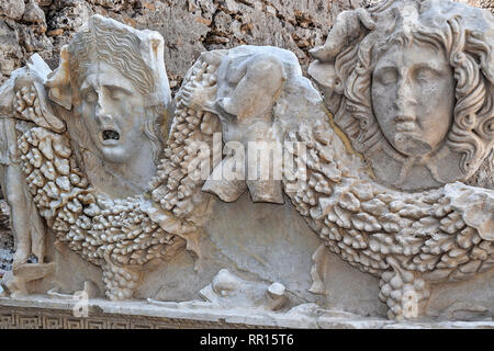 Sarcophagus Figures, Side Museum, Side, Turkey - Stock Photo