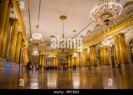 George Hall gold room in the Hermitage, St. Petersburg, Russia - Stock Photo