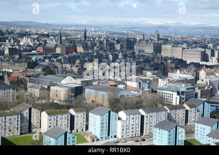 A cityscape view of the medieval old of downtown Edinburgh, and its newer outlying districts, from Arthur's Seat, Scotland, United Kingdom.