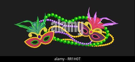 Mardi Gras design element, colorful symbols - Stock Photo