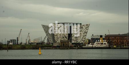 Exterior of Titanic Museum. Belfast, February 2019 - Stock Photo