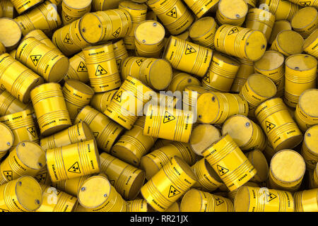 Storage and utilization of nuclear radioactive waste concept background. Heap of yellow barrels with radioactive sign. 3d illustration - Stock Photo