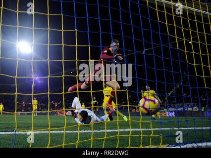 Frosinone. 23rd Feb, 2019. Roma's Edin Dzeko scores his goal during a Italian Serie A soccer match between Frosinone and Roma in Frosinone Italy, Feb. 23, 2019. Roma won 3-2. Credit: Alberto Lingria/Xinhua/Alamy Live News - Stock Photo
