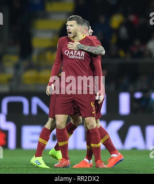 Frosinone. 23rd Feb, 2019. Roma's Edin Dzeko celebrates his goal with his teammates during a Italian Serie A soccer match between Frosinone and Roma in Frosinone Italy, Feb. 23, 2019. Roma won 3-2. Credit: Alberto Lingria/Xinhua/Alamy Live News - Stock Photo