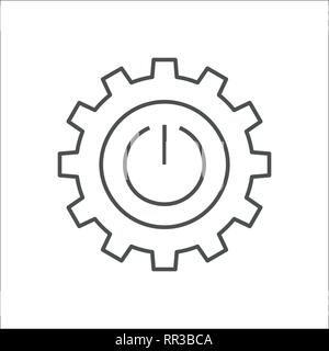 Industry 4.0 and IoT concept vector illustration. Cogwheel with button ON OFF, sign INDUSTRY 4.0, technology revolution, digital system and smart auto - Stock Photo