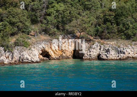 Coastal landscape with small grotto near Njivice, island of Krk, Croatia, Kvarner Bay, Adriatic Sea, Croatia - Stock Photo