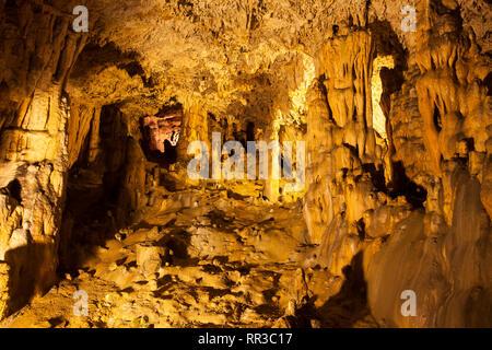 Stalactite cave in Rudine, Krk, Croatia, Kvarner Gulf, Croatia, Europe - Stock Photo