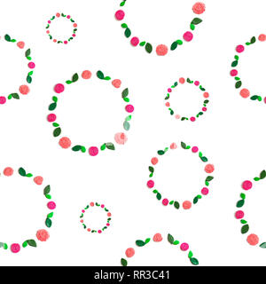 Seamless pattern frame of flowers and leaves on white background. White background Flat lay - Stock Photo