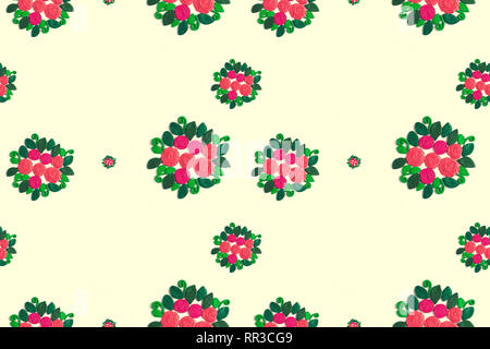 Pattern seamless frame of flowers and leaves on white background. White background Flat lay - Stock Photo