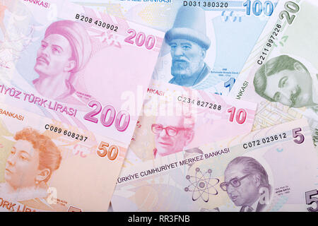 Turkish money - reverse side, a business background - Stock Photo
