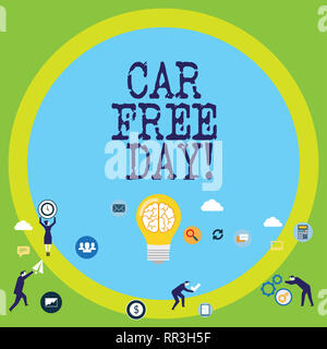 Conceptual hand writing showing Car Free Day. Business photo text Environment protection world campaign avoiding pollution - Stock Photo