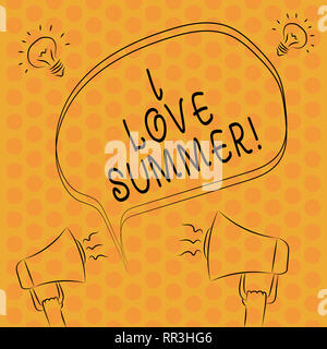 Writing note showingI Love Summer. Business photo showcasing Affection for sunny hot season of the year Vacations Freehand Outline Sketch of Speech Bu - Stock Photo