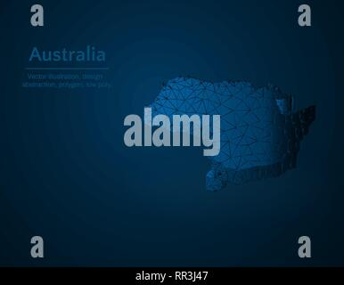 Australia map low poly vector illustration, country in oceania polygonal icon, isometric icon, ducation concept illustration, dark blue background - Stock Photo