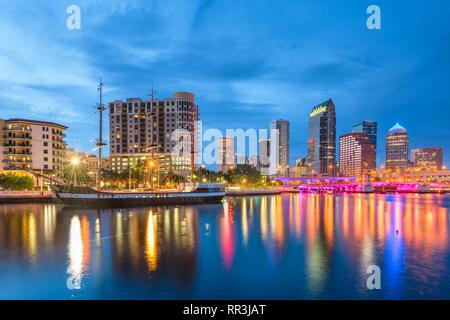 Tampa, Florida, USA downtown skyline on the bay at twilight. Stock Photo