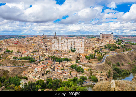 Toledo, Spain old town city skyline atr dawn. - Stock Photo