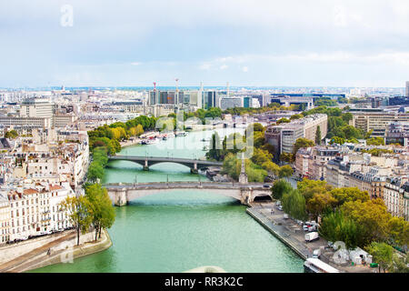Cityscape of Seine river on east Paris from above - Stock Photo