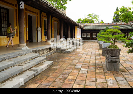 courtyard of imperial city citadel in Hue, Vietnam - Stock Photo