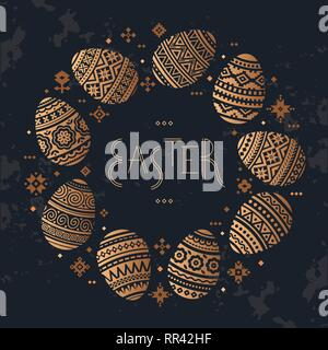 The circular template of Easter egg vector flat icons painted in traditional style. - Stock Photo