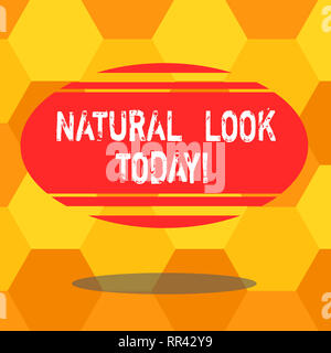 Handwriting text writing Natural Look Today. Concept meaning not made or caused by showing or chemical substance Blank Color Oval Shape with Horizonta - Stock Photo