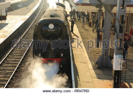 Steam Train In Full Force At Ramsbotton East Lancashire Railway UK - Stock Photo