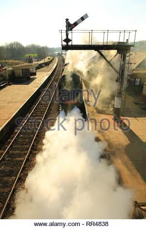 Steam Train In Full Force At Ramsbotton East Lancashire Railway UK - Stock Photo
