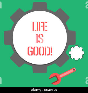 Text sign showing Life Is Good. Conceptual photo Obtain everything you want and more have health great job - Stock Photo