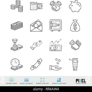 Vector Line Icon Set. Money Related Linear Icons. Finance Symbols, Pictograms, Signs - Stock Photo