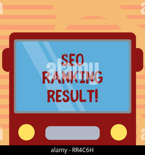 Word writing text Seo Ranking Result. Business concept for refers to websites position in search engine results Drawn Flat Front View of Bus with Blan - Stock Photo