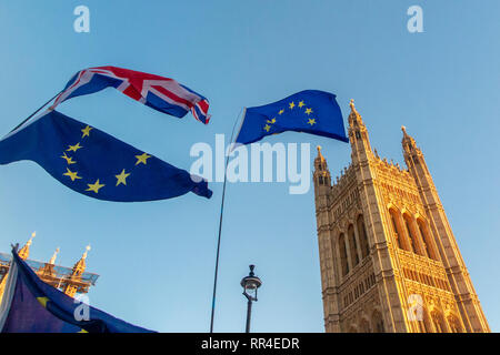 London, UK.28th January 2019; Pro and anti Brexit demonstrators outside the Houses of Parliament - Stock Photo