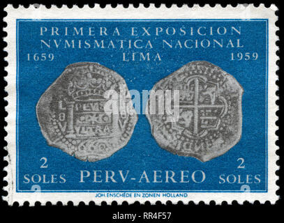 Postage stamp from Peru in the National Numismatic Exhibition, 1st Ed. issued in 1961 - Stock Photo