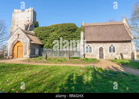 view of billockby church, semi ruin in norfolk uk abandoned church - Stock Photo