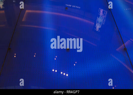 Dubai-Led dancing floor walk in Dubai Mall blue 5 - Stock Photo