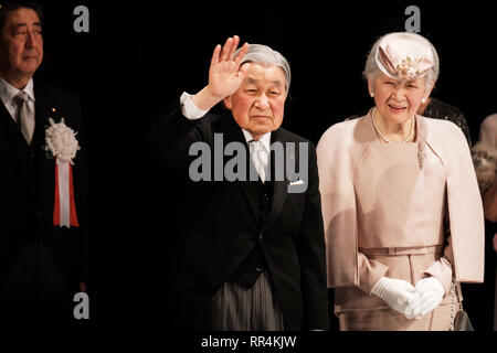 Tokyo, Japan. 24th Feb, 2019. Japanese Emperor Akihito (C) and Empress Michiko (R) attend the ceremony to mark the 30th anniversary of emperor's enthronement in Tokyo, Japan, Feb. 24, 2019. Credit: Pool/Xinhua/Alamy Live News - Stock Photo