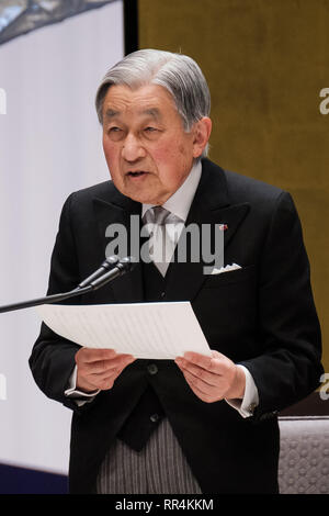 Tokyo, Japan. 24th Feb, 2019. Japanese Emperor Akihito delivers a speech during the ceremony to mark the 30th anniversary of emperor's enthronement in Tokyo, Japan, Feb. 24, 2019. Credit: Pool/Xinhua/Alamy Live News - Stock Photo