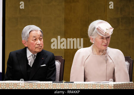 Tokyo, Japan. 24th Feb, 2019. Japanese Emperor Akihito (L) and Empress Michiko attend the ceremony to mark the 30th anniversary of emperor's enthronement in Tokyo, Japan, Feb. 24, 2019. Credit: Pool/Xinhua/Alamy Live News - Stock Photo