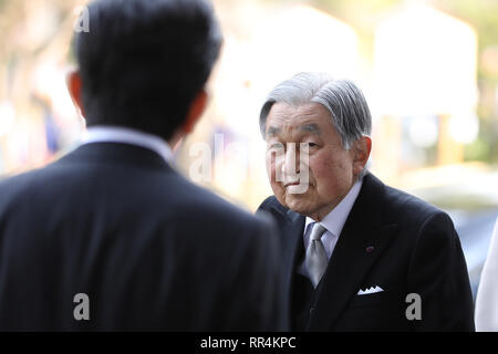 Tokyo, Japan. 24th Feb, 2019. Japanese Emperor Akihito arrives to attend the ceremony to mark the 30th anniversary of emperor's enthronement in Tokyo, Japan, Feb. 24, 2019. Credit: Du Xiaoyi/Xinhua/Alamy Live News - Stock Photo