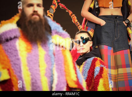 Milan, Italy. 24th Feb, 2019. Models present creations for Angel Chen during Milan Fashion Week Autumn/Winter 2019-20 in Milan, Italy, Feb. 24, 2019. Credit: Cheng Tingting/Xinhua/Alamy Live News - Stock Photo