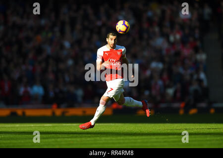 London, UK. 24th Feb 2019. Arsenal goalscorer and midfielder, Henrikh Mkhitaryan during the Premier League match between Arsenal and Southampton at the Emirates Stadium, London on Sunday 24th February 2019. Editorial use only, licence required for commercial use. No use in Betting, games or a single club/league/player publication. (Credit: Jon Bromley   MI News) Credit: MI News & Sport /Alamy Live News - Stock Photo