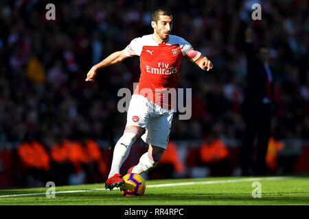 London, UK. 24th Feb 2019. Arsenal midfielder Henrikh Mkhitaryan during the Premier League match between Arsenal and Southampton at the Emirates Stadium, London on Sunday 24th February 2019. Editorial use only, licence required for commercial use. No use in Betting, games or a single club/league/player publication. (Credit: Jon Bromley   MI News) Credit: MI News & Sport /Alamy Live News - Stock Photo