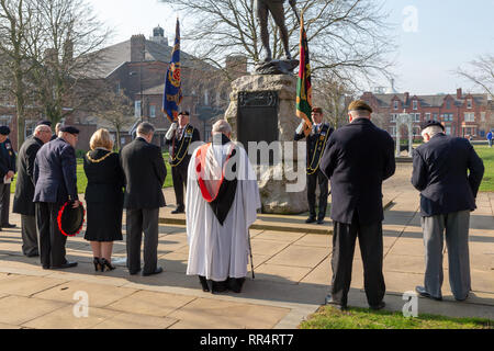 Warrington, Cheshire, UK. 24th Feb, 2019. 24 February 2019  The sun shone strongly on the annual parade and service to commemorate the anniversary of the Battle for Pieter's Hill on 27th February 1900 by the 1st Battalion of the South Lancashire Regiment (PWV) took place in The Queen's Gardens, Palmyra Square, Warrington, Cheshire, England, UK Credit: John Hopkins/Alamy Live News - Stock Photo