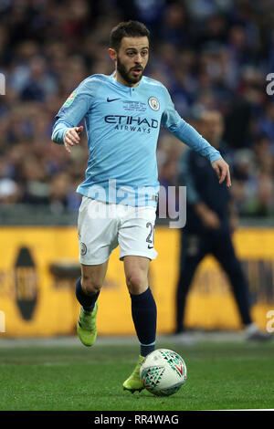 London, UK. 24th Feb, 2019.  London, UK. 13th Nov, 2018. Bernardo Silva of Manchester City during the Carabao Cup Final match between Chelsea and Manchester City at Stamford Bridge on February 24th 2019 in London, England. (Photo by Paul Chesterton/phcimages.com) Credit: PHC Images/Alamy Live NewsEditorial use only, licence required for commercial use. No use in Betting, games or a single club/league/player publication. by Paul Chesterton/phcimages.com) Credit: PHC Images/Alamy Live News - Stock Photo