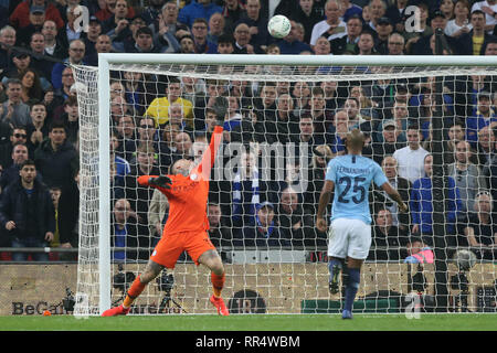 London, UK. 24th Feb, 2019.  London, UK. 13th Nov, 2018. Ederson of Manchester City during the Carabao Cup Final match between Chelsea and Manchester City at Stamford Bridge on February 24th 2019 in London, England. (Photo by Paul Chesterton/phcimages.com) Credit: PHC Images/Alamy Live NewsEditorial use only, licence required for commercial use. No use in Betting, games or a single club/league/player publication. by Paul Chesterton/phcimages.com) Credit: PHC Images/Alamy Live News - Stock Photo