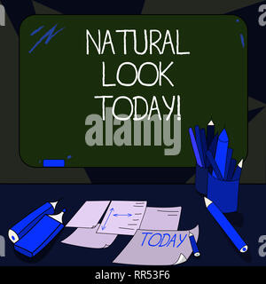 Handwriting text writing Natural Look Today. Concept meaning not made or caused by showing or chemical substance Mounted Blank Color Blackboard with C - Stock Photo